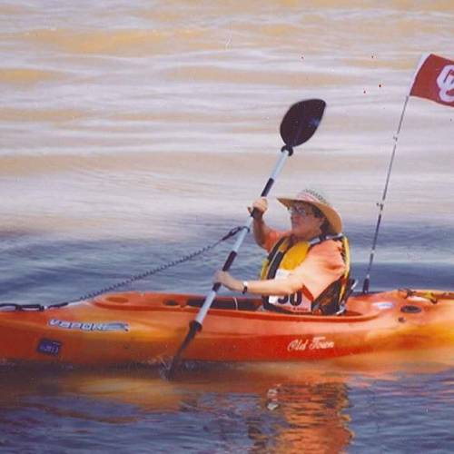 Janice Cockrum is shown paddling on the Mississippi River in Tennessee. She and her twin, Janet Howard, both enjoy kayaking. (Courtesy photo)