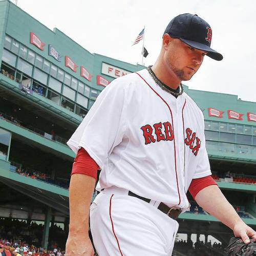 Boston Red Sox starting pitcher Jon Lester heads to the bull pen before a baseball game against the Kansas City Royals in Boston, Sunday, July 20, 2014. (AP Photo/Michael Dwyer)