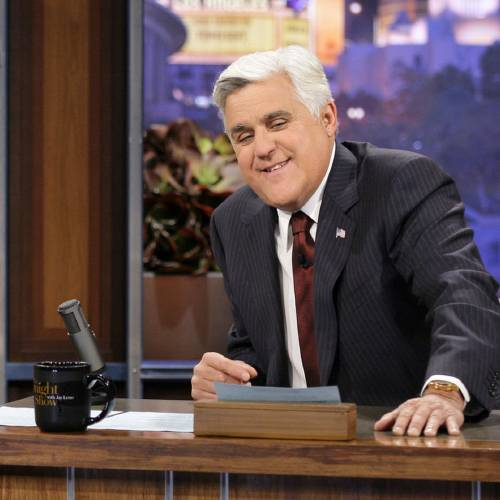"This Nov. 5, 2012 photo released by NBC shows Jay Leno, host of ""The Tonight Show with Jay Leno,"" on the set in Burbank, Calif. NBC announced Wednesday, April 3, 2013 that Jimmy Fallon is replacing Jay Leno as the host of ""The Tonight Show"" in spring 2014. (AP Photo/NBC, Paul Drinkwater)"