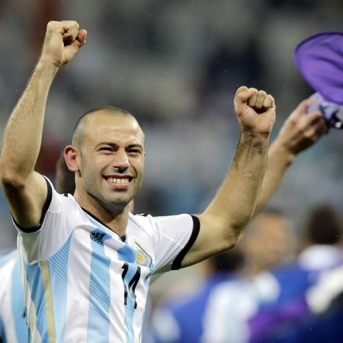 Argentina's Javier Mascherano celebrates after Argentina defeated the Netherlands 4-2 in a penalty shootout after a 0-0 tie after extra time to advance to the finals during the World Cup semifinal soccer match between the Netherlands and Argentina at the Itaquerao Stadium in Sao Paulo Brazil, Wednesday, July 9, 2014. (AP Photo/Victor R. Caivano)