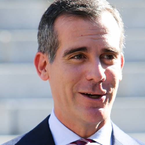 """LOS ANGELES, CA - AUGUST 27: Los Angeles Mayor Eric Garcetti attends the """"Stand Up To Cancer"""" press conference at Los Angeles City Hall on August 27, 2014 in Los Angeles, California. (Photo by Paul Archuleta/FilmMagic)"""