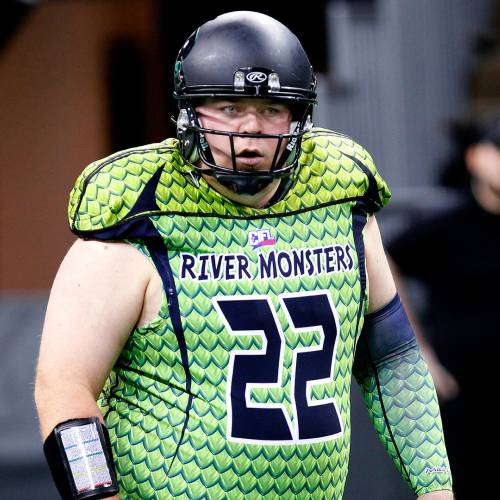 Feb 9, 2014; Highland Heights, KY, USA; Northern Kentucky River Monsters quarterback Jared Lorenzen during pre game warm up at the Bank of Kentucky Center. Mandatory Credit: Frank Victores-USA TODAY Sports CREDIT: FRANK VICTORES/USA TODAY SPORTS