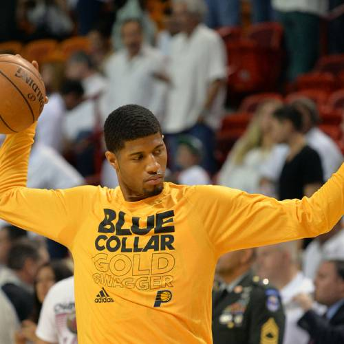 Jun 3, 2013; Miami, FL, USA; Indiana Pacers small forward Paul George prior to facing the Miami Heat in game 7 of the 2013 NBA Eastern Conference Finals at American Airlines Arena. Mandatory Credit: Steve Mitchell- USA TODAY Sports