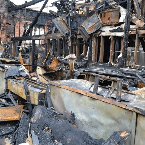 The remains of the bar area of the Grady Pub and Grille, which was destroyed in a fire in the top floor of the old bank building in Tuttle. It also supported eight other businesses. (Chickasha Express-Star photo)