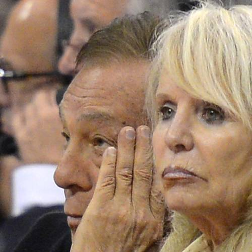 Los Angeles Clippers owner Donald Sterling, left, and his wife Rochelle look on during the second half in Game 3 of an NBA basketball playoffs Western Conference semifinal against the San Antonio Spurs, Saturday, May 19, 2012, in Los Angeles. The Spurs won 96-86 for a 3-0 series lead. (AP Photo/Mark J. Terrill)