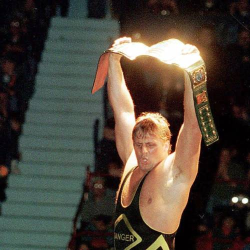 This is a file photo of WWF proffessional wrestler Owen Hart, shown in a January 1999 file photo during a performance at Hershey Park Arena in Hershey, Pa. Hart was killed Sunday, May 23, 1999, during a pay-per-view performance in Kansas City, Mo., leaving behind a wife, two-children and six brothers in Canada who were all professional wrestlers. (AP Photo/The York Dispatch,Jason Plotkin)