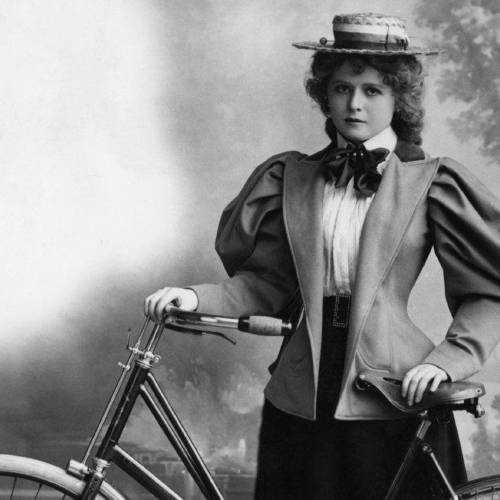 A young woman with her bicycle, circa 1895. (Photo by Hulton Archive/Getty Images)
