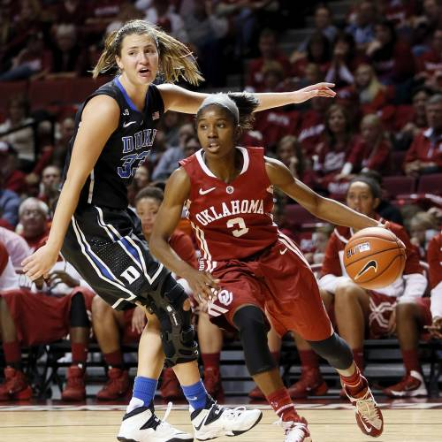 OU's Aaryn Ellenberg , right, dribbles away from Duke's Haley Peters during action earlier this season in Norman. Ellenberg is 15 points shy of becoming the Sooners' No. 2 all-time leading scorer. Photo by Nate Billings, The Oklahoman