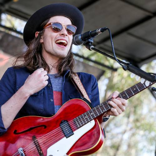 James Bay performs in 2015 at the KROQ Weenie Roast at the Irvine Meadows Amphitheatre in...