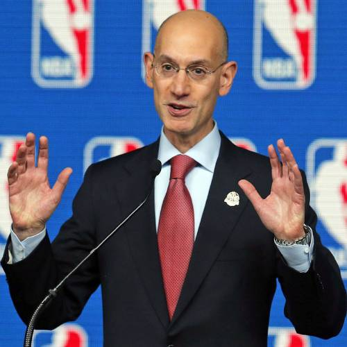 FILE - In this Feb. 15, 2014 file photo, NBA Commissioner Adam Silver speaks at a news conference before the skills competition at the NBA All Star basketball weekend, in New Orleans. NBA owners hold their end-of-season meeting with Silver, with the potential sale of the Milwaukee Bucks among the most important issues, Friday. April 18, 2014 in New York. (AP Photo/Bill Haber, File)