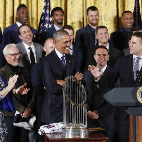 President Obama celebrates World Series championship with Chicago Cubs
