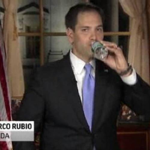 In this frame grab from video, Florida Sen. Marco Rubio takes a sip of water during his Republican response to President Barack Obama's State of the Union address, Tuesday, Feb. 12, 2013, in Washington. (AP Photo/Pool)