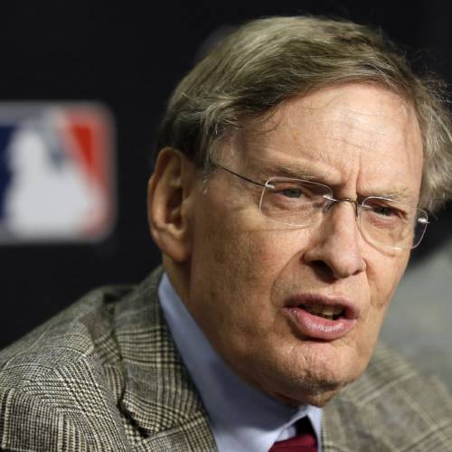FILE- In this Oct. 27, 2012, file photo, Major League Baseball Commissioner Bud Selig talks at a news conference before Game 3 of baseball's World Series between the Detroit Tigers and the San Francisco in Detroit. Selig said Saturday, March 2, 2013, that he wants tougher penalties for major league players who violate the sport's drug agreement. (AP Photo/Paul Sancya, File) ORG XMIT: NY150