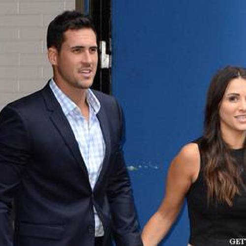 "NEW YORK, NY - JULY 29: Andi Dorfman and Josh Murray from 'The Bachelorette' are seen leaving ""Good Morning America""on July 29, 2014 in New York City. (Photo by Raymond Hall/GC Images)"