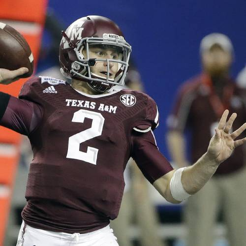 Texas A&M quarterback Johnny Manziel (2) looks for a receiver in the second half of the Chick-fil-A Bowl NCAA college football game against Duke Tuesday, Dec. 31, 2013, in Atlanta. (AP Photo/John Bazemore)