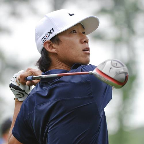 Anthony Kim watches his tee shot on the 13th hole during the third round of the Houston Open PGA Tour golf tournament, Saturday, April 2, 2011, in Humble, Texas. (AP Photo/Dave Einsel) ORG XMIT: TXDE118