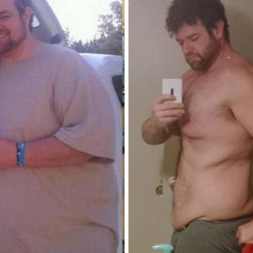 A before and after photo of Rick Wyckoff. He started his weight-loss journey in 2012, and he has...