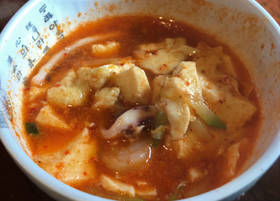 Soft tofu and seafood soup from Taste of Korea in Oklahoma City. [Dave Cathey/The Oklahoman]