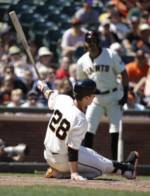 Photo - San Francisco Giants' Buster Posey strikes out swinging against Oakland Athletics relief pitcher Dan Otero in the eighth inning of their interleague baseball game Thursday, July 10, 2014, in San Francisco. (AP Photo/Eric Risberg)