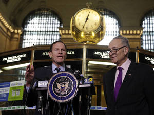 "Photo - U.S. Sen. Richard Blumenthal, D-CT, left, and U.S. Sen. Charles Schumer, D-NY, comment during a news conference on a report by the Federal Railroad Administration about the Metro-North Railroad, at the information booth in New York's Grand Central Terminal, Friday, March 14, 2014. Metro-North commuter railroad has allowed an overemphasis on train times to ""routinely"" overshadow its safety operations, according to an FRA review that was released Friday. (AP Photo/Richard Drew)"