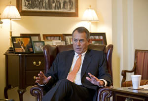 photo - In this Feb. 13, 2013, photo House Speaker John Boehner speaks during an interview with The Associated Press at his Capitol office, in Washington, Wednesday, Feb. 13, 2013. Get ready for two weeks of intensifying warnings about how crucial government services are about to go away _ including many threats that could eventually prove true. President Barack Obama and congressional Republicans made no progress last week in heading off $85 billion in budget-wide cuts that automatically start taking effect March 1. (AP Photo/J. Scott Applewhite, file)