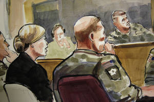 photo -   In this detail of a courtroom sketch, U.S. Army Staff Sgt. Robert Bales, seated at front-right, listens Monday, Nov. 5, 2012, during a preliminary hearing in a military courtroom at Joint Base Lewis McChord in Washington state. Bales is accused of 16 counts of premeditated murder and six counts of attempted murder for a pre-dawn attack on two villages in Kandahar Province in Afghanistan in March, 2012. At upper-right is Investigating Officer Col. Lee Deneke, and seated at front-left is Bales' civilian attorney, Emma Scanlan. (AP Photo/Lois Silver)