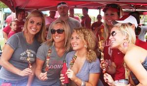 "photo - The theme for the Seminoles game was ""stick it to 'em"". Skewers were the most appropriate food item."