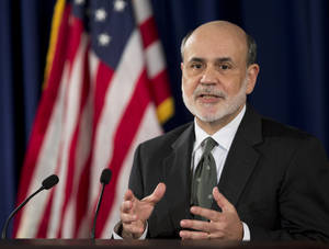 Photo -   Federal Reserve Chairman Ben Bernanke speaks during a news conference in Washington, Thursday, Sept. 13, 2012, following the Federal Open Market Committee meeting to present the FOMC's current economic projections and to provide additional context for the FOMC's policy decision. (AP Photo/Manuel Balce Ceneta)