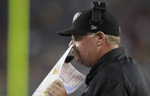 Photo -   Philadelphia Eagles head coach Andy Reid on the sidelines against the New England Patriots during the third quarter of an NFL preseason football game in Foxborough, Mass., Monday, Aug. 20, 2012.(AP Photo/Steven Senne)