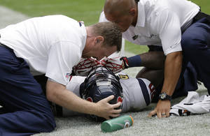 Photo - Houston Texans' Andre Johnson, center, is helped by staff after he was injured making a catch against Tennessee Titans' Jason McCourty during the fourth quarter of an NFL football game on Sunday, Sept. 15, 2013, in Houston. (AP Photo/David J. Phillip)