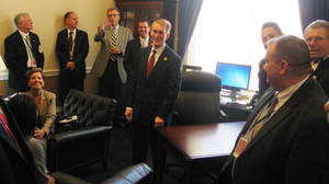 Photo - Rep. James Lankford, center, meets with Oklahoma business and evangelical leaders about immigration reform in his Capitol Hill office on Tuesday. PHOTO BY CHRIS CASTEEL, THE OKLAHOMAN <strong>Chris Casteel - The Oklahoman</strong>