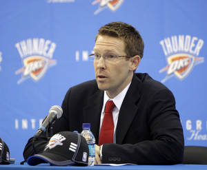 Photo - Thunder general manager Sam Presti speaks to the media at the Thunder practice facility after the NBA draft on Thursday, June 25, 2009. Photo by Bryan Terry, The Oklahoman
