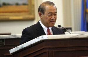 Photo - Japanese ambassador Ichiro Fujisaki speaks at the Oklahoma House Chamber, Friday, Aug. 5, 2011. Photo by Sarah Phipps, The Oklahoman ORG XMIT: KOD