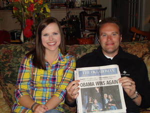 photo - Tony LoPresto and his sister, Miriam Conrady, have taken a picture with The Oklahoman after every presidential election. Photo provided