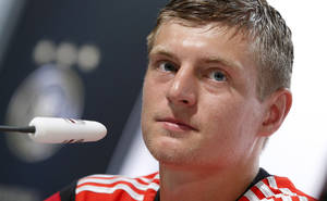 Photo - Germany national soccer player Toni Kroos attends a news conference in Santo Andre near Porto Seguro, Brazil, Wednesday, June 18, 2014. Germany play in group G of the 2014 soccer World Cup. (AP Photo/Matthias Schrader)