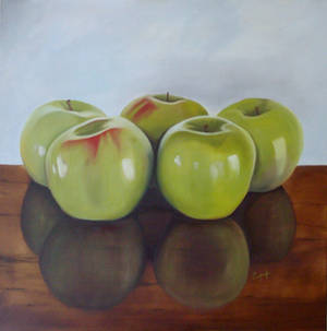 "Photo - ""Five Apples,"" an oil painting by Ted Conley.  Photo provided"