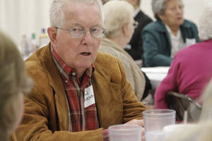 photo - Fred and Joyce Lucas, of Watonga, discuss what health care services they would like to see at Mercy Hospital Watonga. Mercy recently started leasing the hospital, and the company hosted a round table with residents Tuesday to discuss what lies ahead. Photo by Jaclyn Cosgrove, The Oklahoman <strong>Jaclyn Cosgrove - Jaclyn Cosgrove</strong>