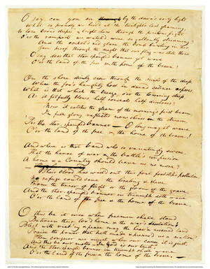 """Photo - This undated handout image provided by The Maryland Historical Society shows the 1814 Star-Spangled Banner manuscript by Francis Scott Key.  The original, handwritten manuscript of """"The Star-Spangled Banner"""" and the flag that inspired the song's lyrics will be displayed together at the Smithsonian in Washington, what is believed to be the first time the historic pieces have been shown side-by-side, on Flag Day, June 14, through July 6. (AP Photo/The Maryland Historical Society)"""
