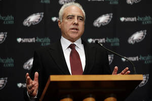 "Photo - Philadelphia Eagles owner Jeffrey Lurie speaks to members of the media during a news conference at the team's NFL football training facility, Monday, Dec. 31, 2012, in Philadelphia. Andy Reid's worst coaching season with the Eagles ended Monday after 14 years when he was fired by Lurie, who said it was time ""to move in a new direction."" (AP Photo/Matt Rourke)"