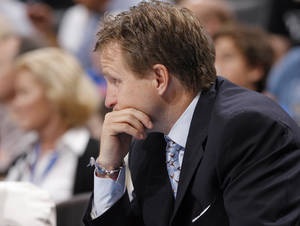 photo - Oklahoma City head coach Scott Brooks reacts to a call during the NBA basketball game between the Oklahoma City Thunder and Utah Jazz in the Oklahoma City Arena on Sunday, Oct. 31, 2010. Photo by Sarah Phipps, The Oklahoman