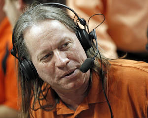 photo - Radio producer Joe Riddle during the men&#039;s college basketball game between Oklahoma State University (OSU) and Kansas State University (KSU) at Gallagher-Iba Arena in Stillwater, Okla., Saturday, January 8, 2011. Photo by Nate Billings, The Oklahoman