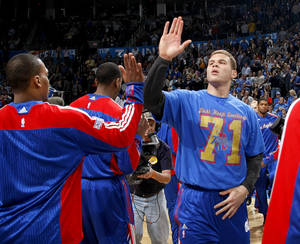 Photo - Los Angeles' Blake Griffin (32) is introduced before the NBA basketball game between the Oklahoma City Thunder and the Los Angeles Clippers at the Oklahoma CIty Arena, Tuesday, Feb. 22, 2011.  Photo by Bryan Terry, The Oklahoman