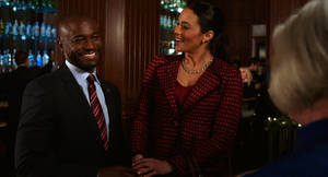 "Photo - This film image released by Fox Searchlight shows Taye Diggs, left, and Paula Patton in a scene from ""Baggage Claim."" AP Photo/Fox Searchlight <strong> - AP</strong>"