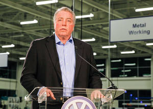Photo - Gary Casteel, a regional director for the United Auto Workers, discusses the union's loss in a union election at the Volkswagen plant in Chattanooga, Tenn., on Friday, Feb. 14, 2014. The 712 to 626 vote is a devastating blow to the union and its efforts to organize other Southern plants run by foreign automakers. (AP Photo/Erik Schelzig)