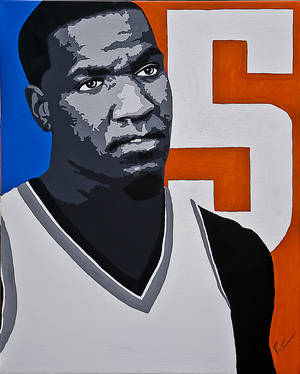 Photo - Thunder big man Kendrick Perkins is known for his scowl and attitude, but he's also a smart and savvy NBA veteran.Art by Ray Tennyson photo by chris landsberger