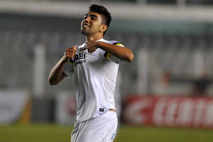 Photo - In this Aug. 21, 2013 photo released by Santos FC, Santos soccer player Gabriel celebrates his goal against Gremio during the Brazilian Cup in Santos, Brazil.  Gabriel scored his first professional goal this week, giving Santos a key win in a Brazilian Cup match and igniting widespread comparisons with Neymar. (AP Photo/Ivan Storti-Santos FC)