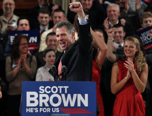 photo - FILE - In this Jan. 19, 2012, file photo, then-Sen. Scott Brown, R-Mass., pumps his fist during his re-election campaign kick-off in Worcester, Mass., in this Jan. 19, 2012 file photo. Three years ago, Brown was a little-known Republican state senator from Massachusetts who shocked Democrats by winning a U.S. Senate seat. Now, having compiled a voting record more moderate than his tea party allies would have liked and losing his bid for a full term, Brown is considering whether to seize a second chance to return to the Senate in another special election. (AP Photo/Charles Krupa, File)