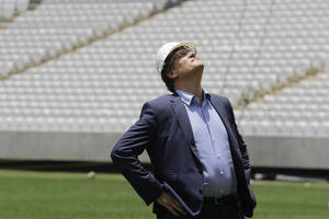Photo - Jerome Valcke, Secretary General of FIFA is seen during an inspection tour of Arena de Sao Paulo stadium, in Sao Paulo, Brazil, Monday, Jan. 20, 2014. Members of FIFA and the 2014 WCup Local Organizing Committee started an inspection tour of stadiums in host cities across Brazil. (AP Photo/Nelson Antoine)