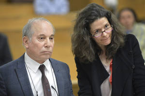 Photo - Singer Paul Simon, left, and his wife Edie Brickell appear at a hearing in Norwalk Superior Court on Monday April 28, 2014 in Norwalk, Conn. The couple were arrested Saturday on disorderly conduct charges by officers investigating a family dispute at their home in New Canaan, Conn. (AP Photo/The Hour, Alex von Kleydorff, Pool)