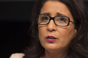 Photo - Nawal El Moutawakel, head of the International Olympic Committee, IOC, Evaluation Commission answers a question during a press conference in Rio de Janeiro, Brazil, Friday, March 21, 2014. IOC officials are in Rio to monitor progress on the preparations for the 2016 Olympics. The city's mayor acknowledged that work on a large cluster of venues is far behind schedule. (AP Photo/Felipe Dana)